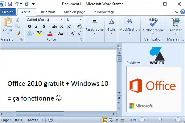 word 2010 gratuit windows 10