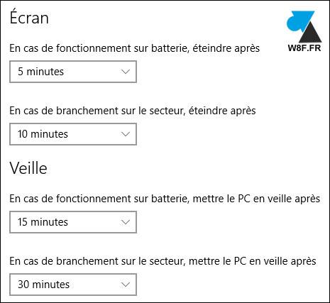 tutoriel Windows 10 paramètres mise en veille PC portable ordinateur ultrabook laptop tablette Surface