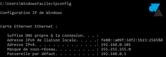 tutoriel Windows 10 adresse IP fixe ipconfig