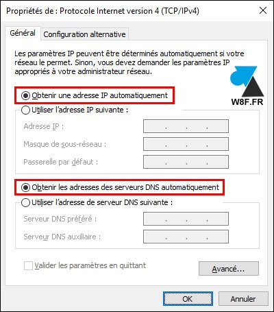 tutoriel Windows 10 adresse IP automatique DHCP