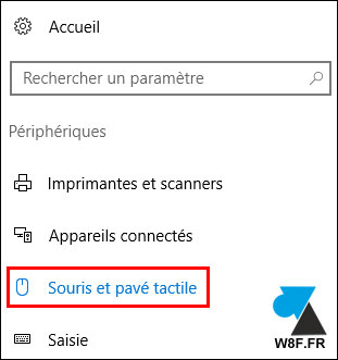 tutoriel Windows 10 menu Paramètres souris pavé tactile touchpad