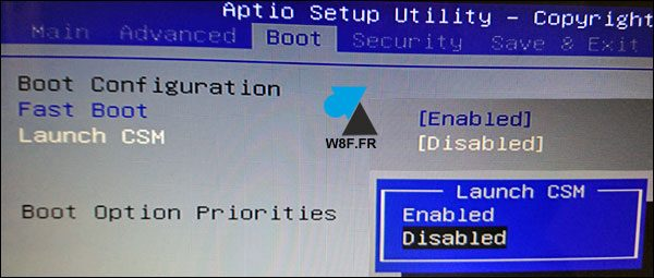 Bios UEFI Asus Launch CSM Disabled Enabled