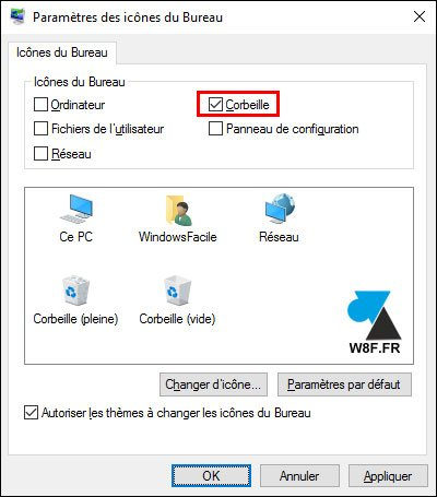 tutoriel Windows 10 icone Corbeille Bureau w10