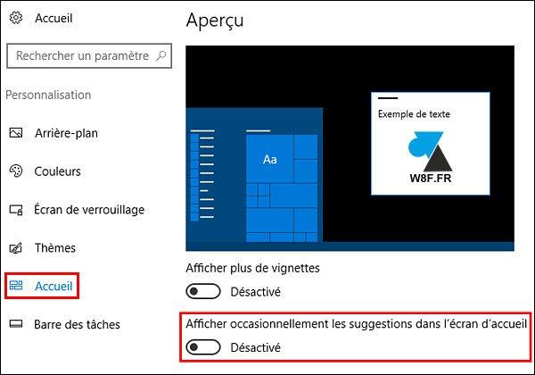tutoriel Windows 10 supprimer pub publicité menu Démarrer écran accueil