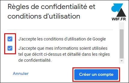 google accepter contrat confidentialité