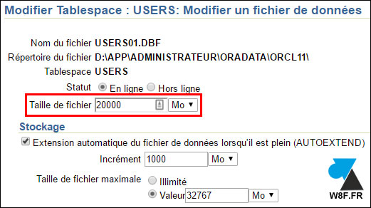 tutoriel Oracle 11g agrandir tablespace BDD