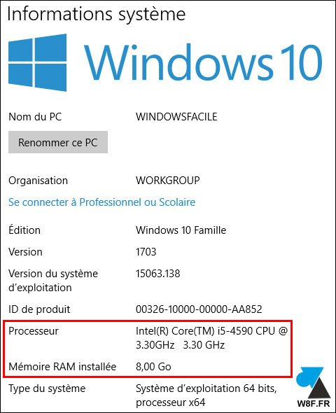 tutoriel WIndows 10 Informations systeme processeur CPU RAM memoire