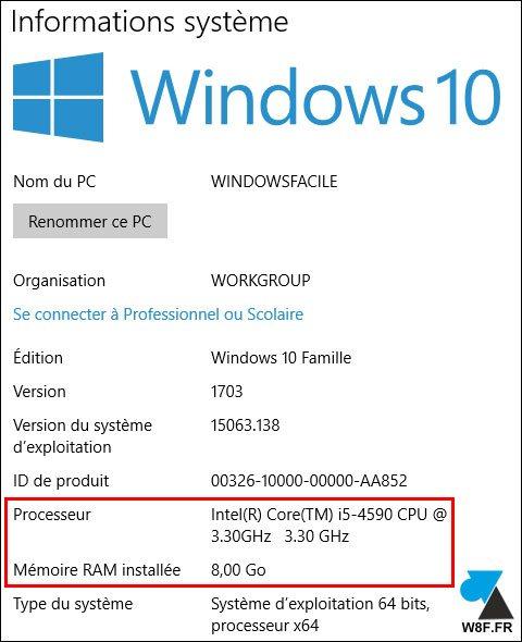 Combien de mémoire ram pour windows 10