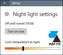 tutoriel Windows 10 Creators Update mode nuit night light