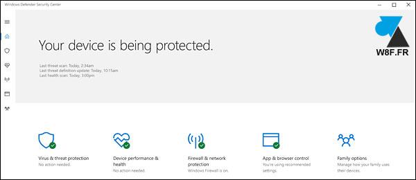 tutoriel Windows 10 Creators Update Windows Defender Security Center centre securite antivirus