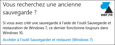 tutoriel Windows 10 outil sauvegarde systeme Windows 7