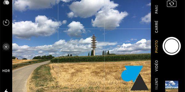 Afficher la grille de composition de l'appareil photo iPhone et iPad