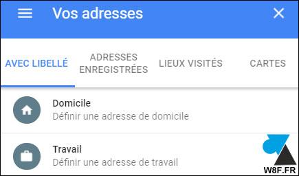 tutoriel Google Maps adresse domicile travail