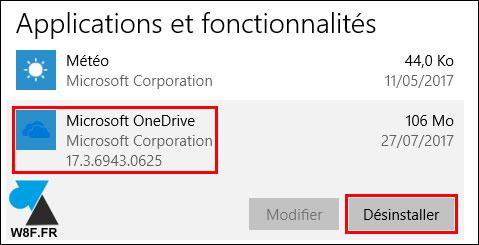tutoriel désinstaller supprimer logiciel OneDrive cloud Microsoft Windows 10