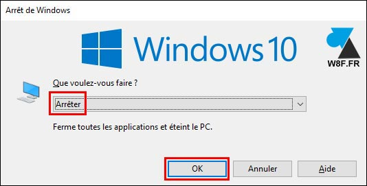 tutoriel arreter PC Windows 10 alt f4