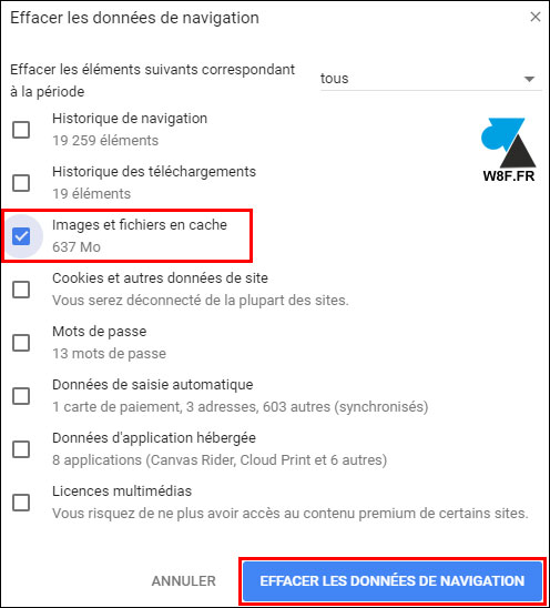 tutoriel vider cache temporaire Google Chrome