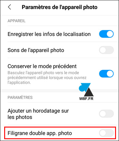 tutoriel smartphone Xiaomi Mi watermark photo mention appareil