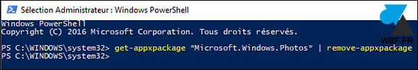 tutoriel Windows 10 désinstaller Photos application