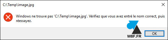 erreur ouvrir photo image Windows 10