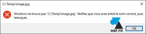 erreur ouvrir photo image Windows 10