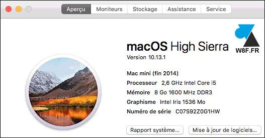 tutoriel macOS Mac High Sierra 10.13 a propos about