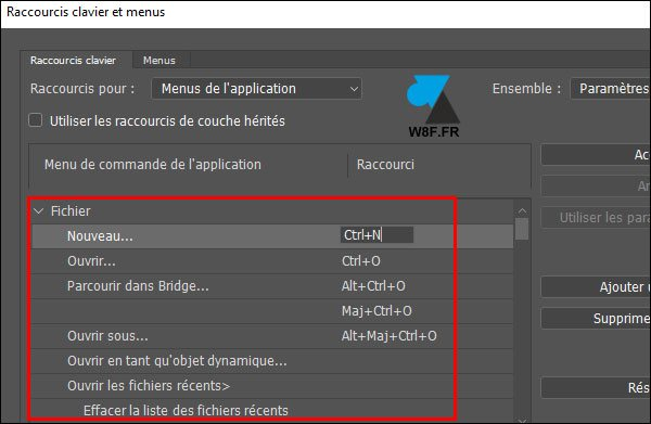tutoriel Adobe Photoshop raccourci clavier
