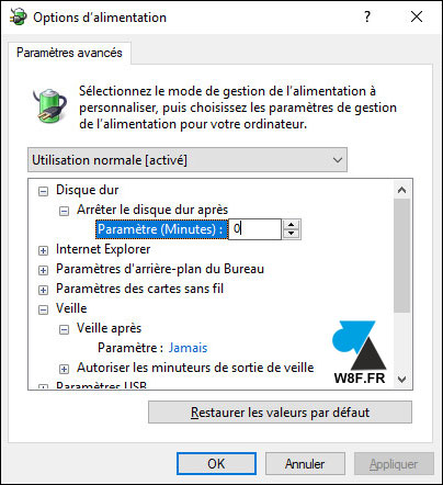 tutoriel Windows 10 option alimentation