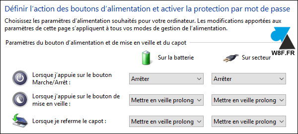 tutoriel Windows 10 veille prolongee capot
