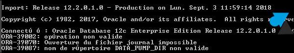 erreur Oracle ora39087 ora-39087 data_pump_dir datapumpdir data pump dir