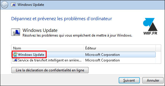 tutoriel solution erreur Windows Update 7 W7
