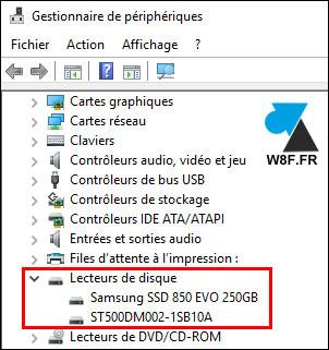 tutoriel Windows 10 Gestionnaire peripheriques disque dur HDD SSD