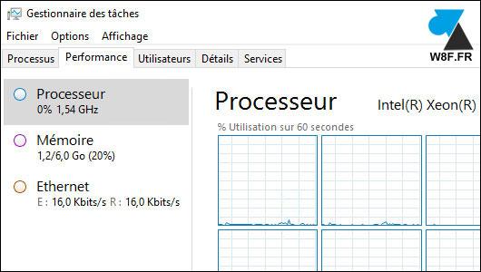 Gestionnaire des taches disque dur Windows Server 2016 diskperf