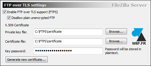 tutoriel FileZilla Server FTPS FTP over TLS SSL