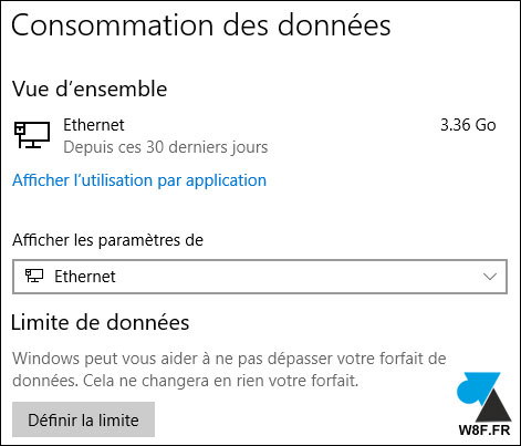 Windows 10 consommation donnees data internet reseau