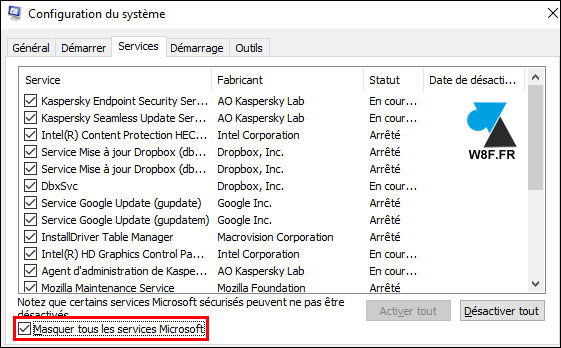 tutoriel Windows 10 msconfig services