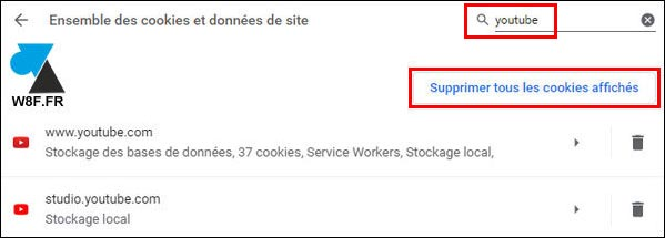 tutoriel supprimer cookies YouTube Google Chrome