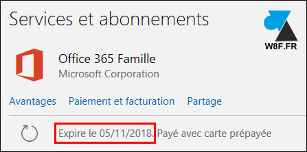 tutoriel Office 365 abonnement date expiration