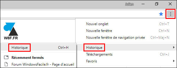 tutoriel Google Chrome supprimer historique navigation