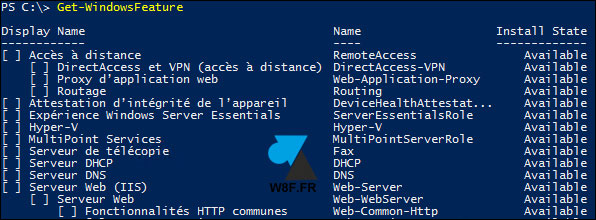 tutoriel PowerShell Windows Server get features
