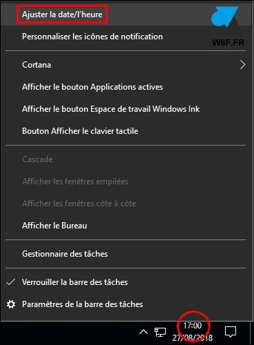 tutoriel modifier date heure Windows 10