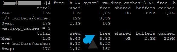 tutoriel free memory vider cache memoire ram fedora redhat centos