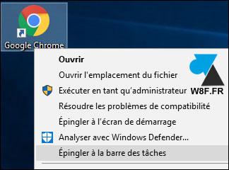 tutoriel Windows 10 icone raccourci barre des taches
