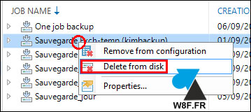 tutoriel sauvegarde Veeam Backup Replication 9 supprimer fichier