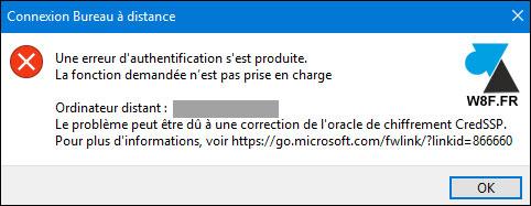 erreur RDP CredSSP MSTSC