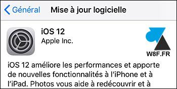 tutoriel iPhone iPad iOS réglages mise à jour iOS12 12