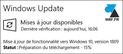 tutoriel mise à jour Windows 10 October Update 1809