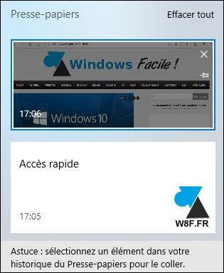 nouveauté Windows 10 1809 presse papier copier coller