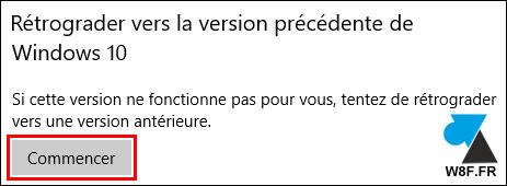 tutoriel Windows 10 récupération systeme version précédente