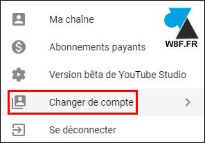 YouTube changer de compte