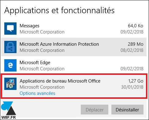 Application de bureau Microsoft Office desinstaller